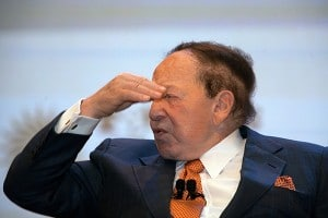Sheldon Adelson, chairman and chief executive officer of Las Vegas Sands Corp. and chairman of Sands China Ltd., speaks during a news conference in Macau, China, on Thursday, Sept. 20, 2012. Sands China, Adelson's Macau casino operator, plans to invest $2.5 billion to build its fifth resort in the territory, where gambling revenue is forecast to rise to $100 billion by 2020. Photographer: Daniel J. Groshong/Bloomberg via Getty Images